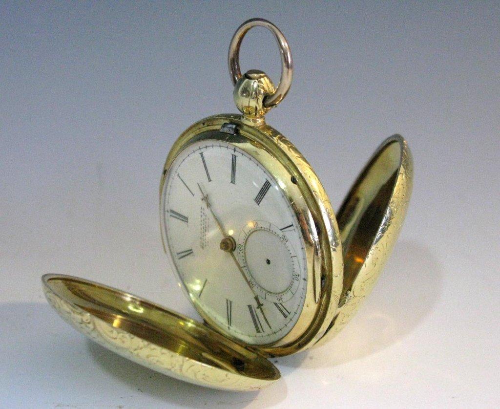19TH C JOSEPH JOHNSON 14k GOLD POCKET WATCH HUNTER CASE