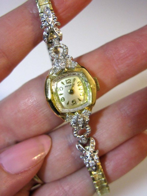 BENRUS WATCH IN 14K GOLD WITH DIAMONDS