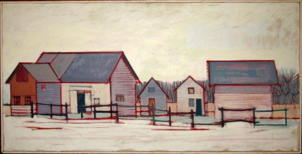 EDWARD COWLEY OIL ON CANVAS PAINTING KELLY'S BARNS