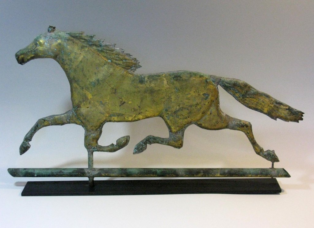 COPPER RUNNING HORSE DIMENSIONAL WEATHER VANE 19TH C.