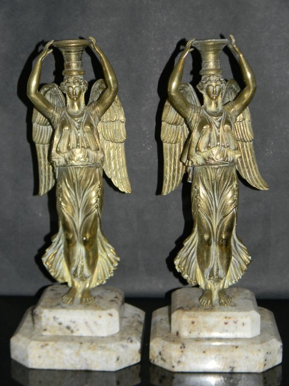 2 @ FRENCH EMPIRE CANDLESTICKS WINGED VICTORY