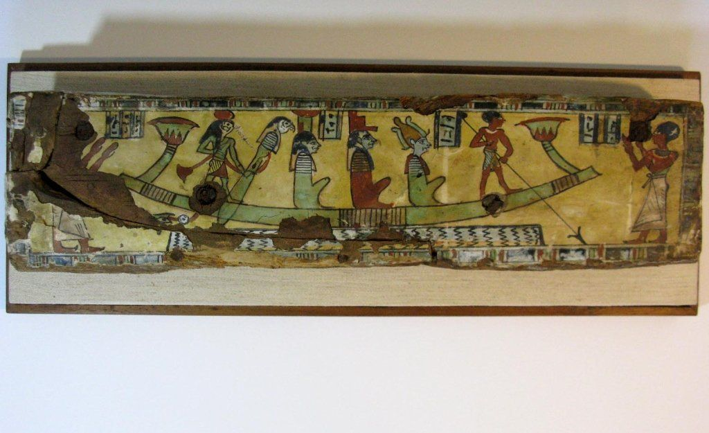 EGYPTIAN PAINTED WOOD SARCOPHAGUS FRAGMENT