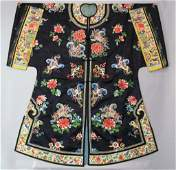 CHINESE EMBROIDERED BLUE SILK BUTTERFLY ROBE