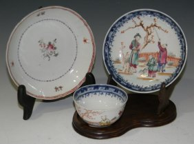 18th C Chinese Porcelain Tea Bowl W 2 @ Saucers