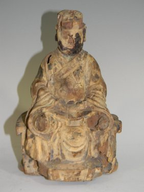 18th C Chinese Carved & Polychromed Wood Buddha