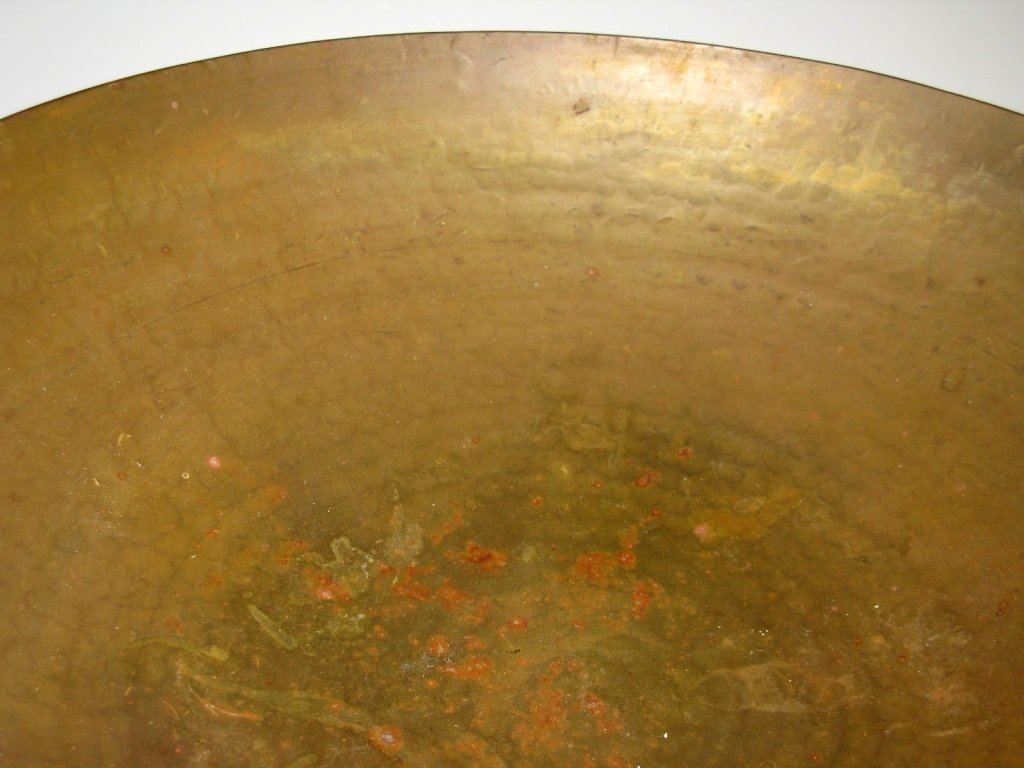 VINTAGE CHINESE HAND HAMMERED COPPER BOWL ON STAND - 3
