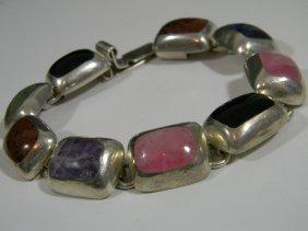 Signed Mexican Sterling & Gemstone Bracelet
