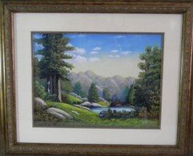 1940 Signed Chalk Pastel Landscape Painting