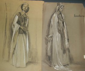 2 Clifford Ulp Rare Charcoal Figure Drawings