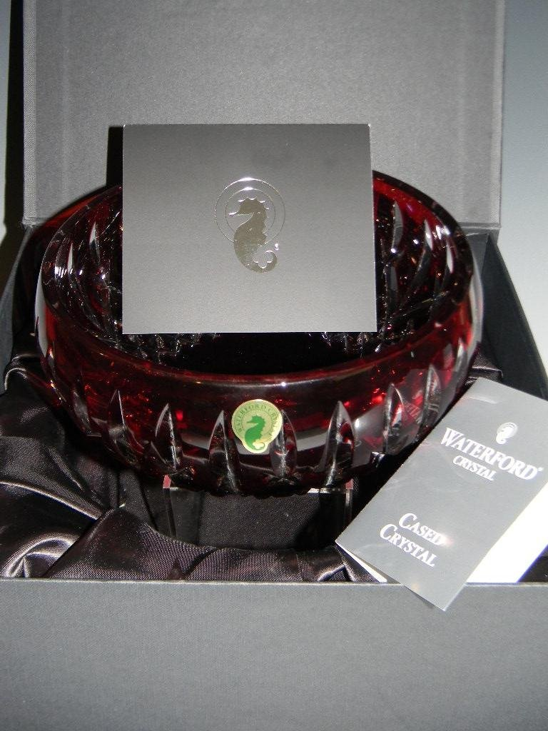 WATERFORD CRYSTAL ARAGLIN RUBY RED CENTER BOWL