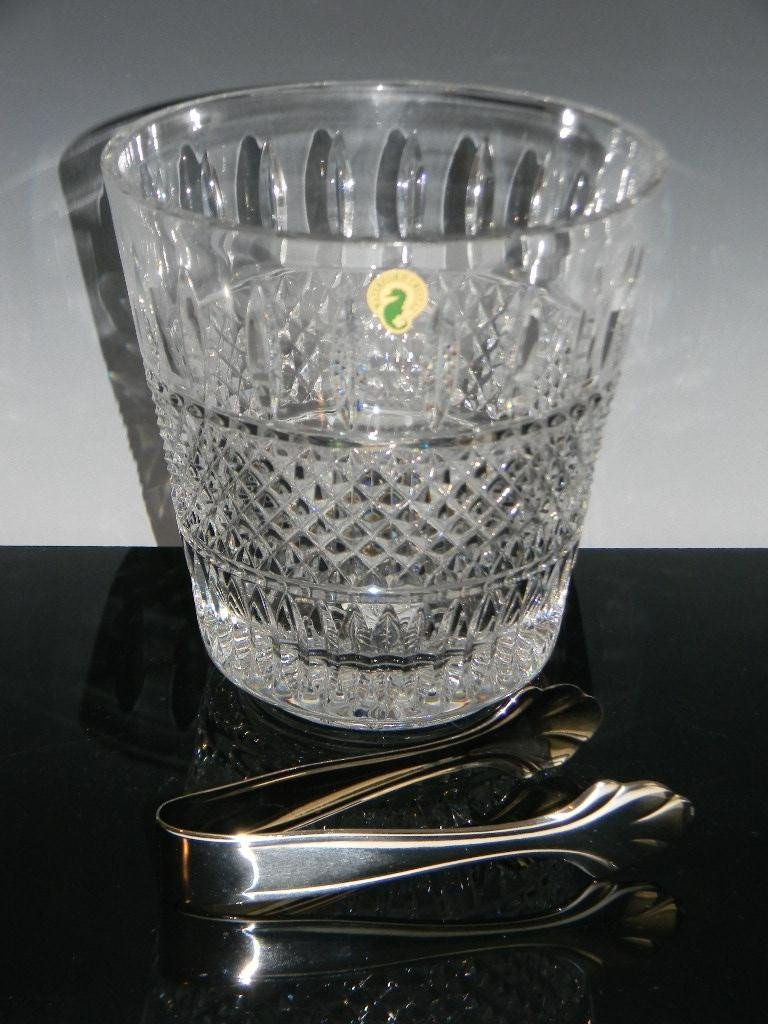 WATERFORD CRYSTAL IRISH LACE ICE BUCKET & TONGS