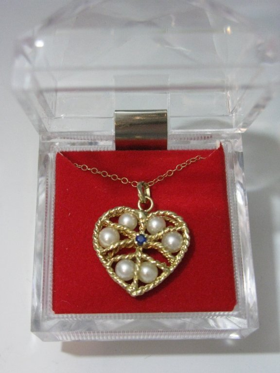 14K GOLD HEART PENDANT NECKLACE PEARLS & SAPPHIRE