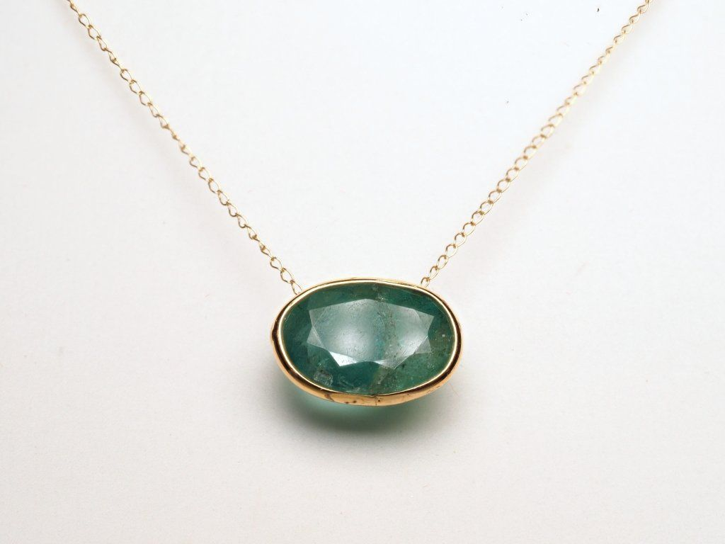 14K YELLOW GOLD NECKLACE WITH LARGE EMERALD