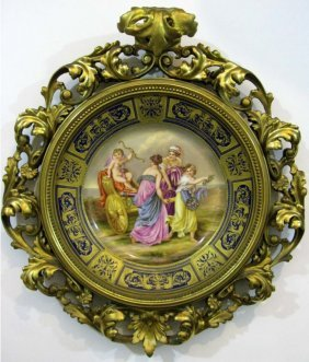 Signed Royal Vienna Hand-painted Porcelain Charger