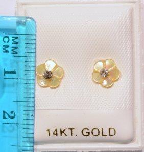 14k Gold Earrings W/ Diamond Studs Mother Of Pearl