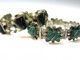 2 Vintage Taxco Bracelets Chrysoprase & Amethyst