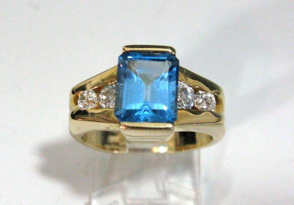 DINNER RING 14K GOLD BLUE TOPAZ & DIAMONDS
