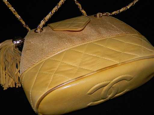 e94c472d1acad CHANEL YELLOW LEATHER STRUCTURED BUCKET BAG