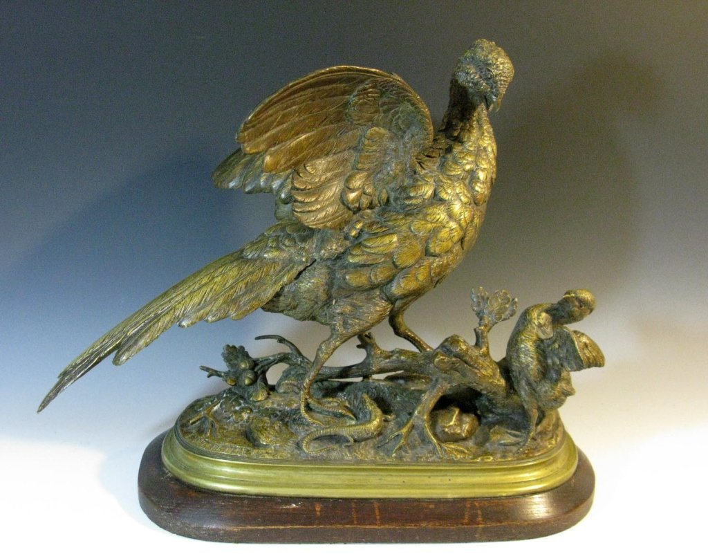 EUGENE DELABRIERRE BRONZE PHEASANT AND CHICK