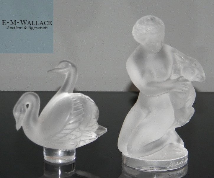 LALIQUE CRYSTAL PAPERWEIGHTS: NUDE & SWANS
