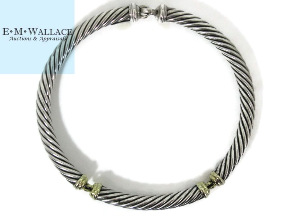 DAVID YURMAN CHOKER NECKLACE STERLING & 14K GOLD