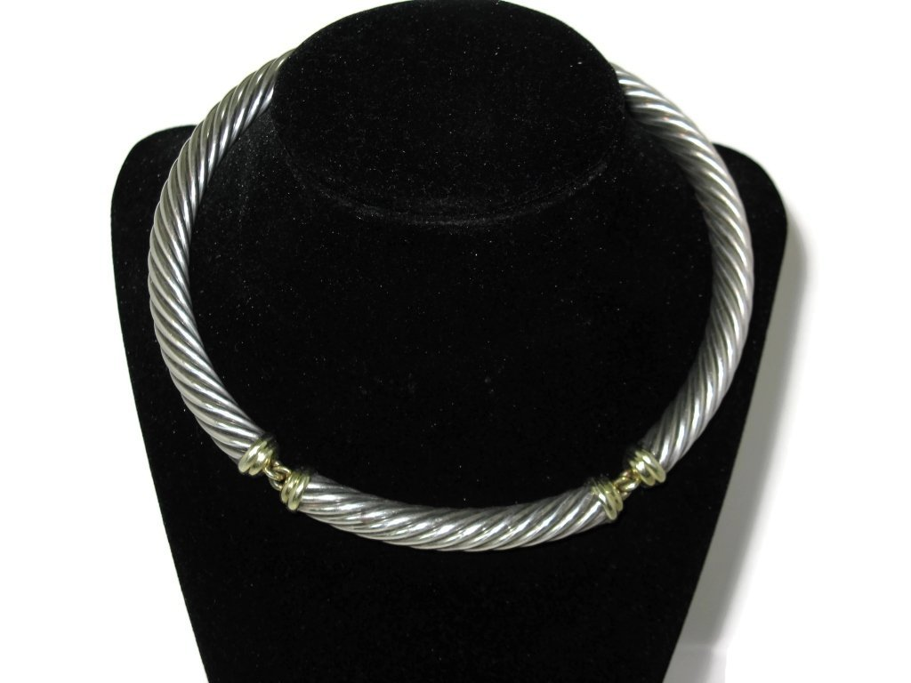 DAVID YURMAN CHOKER NECKLACE STERLING & 14K GOLD - 3