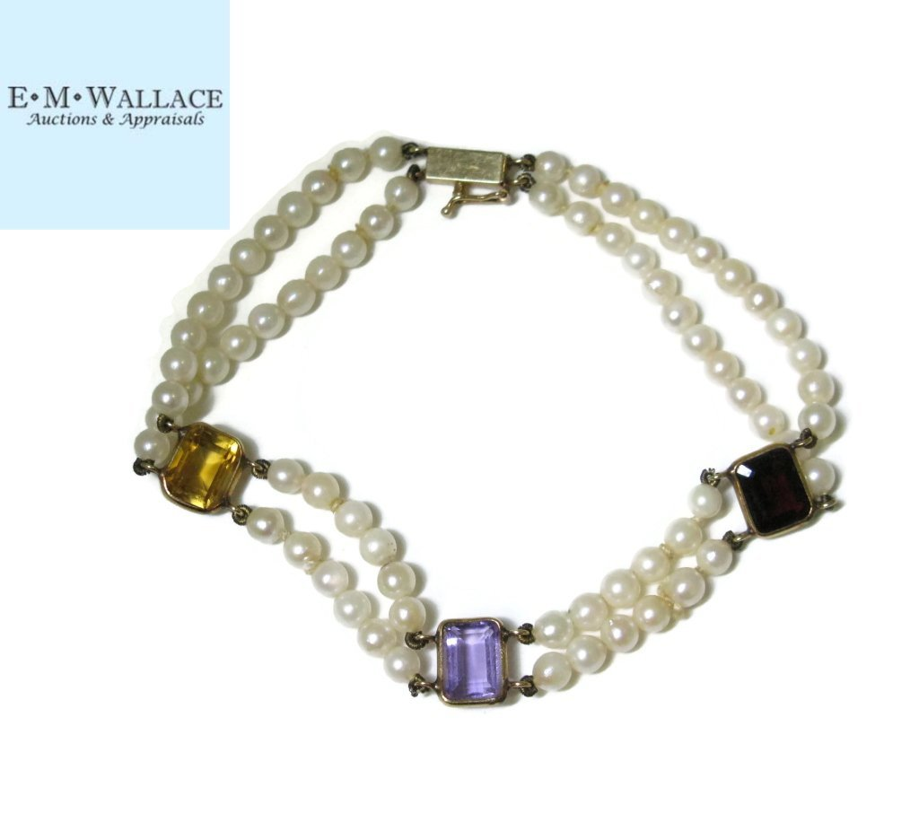 14K GOLD BRACELET WITH PEARLS AND GEM STONES