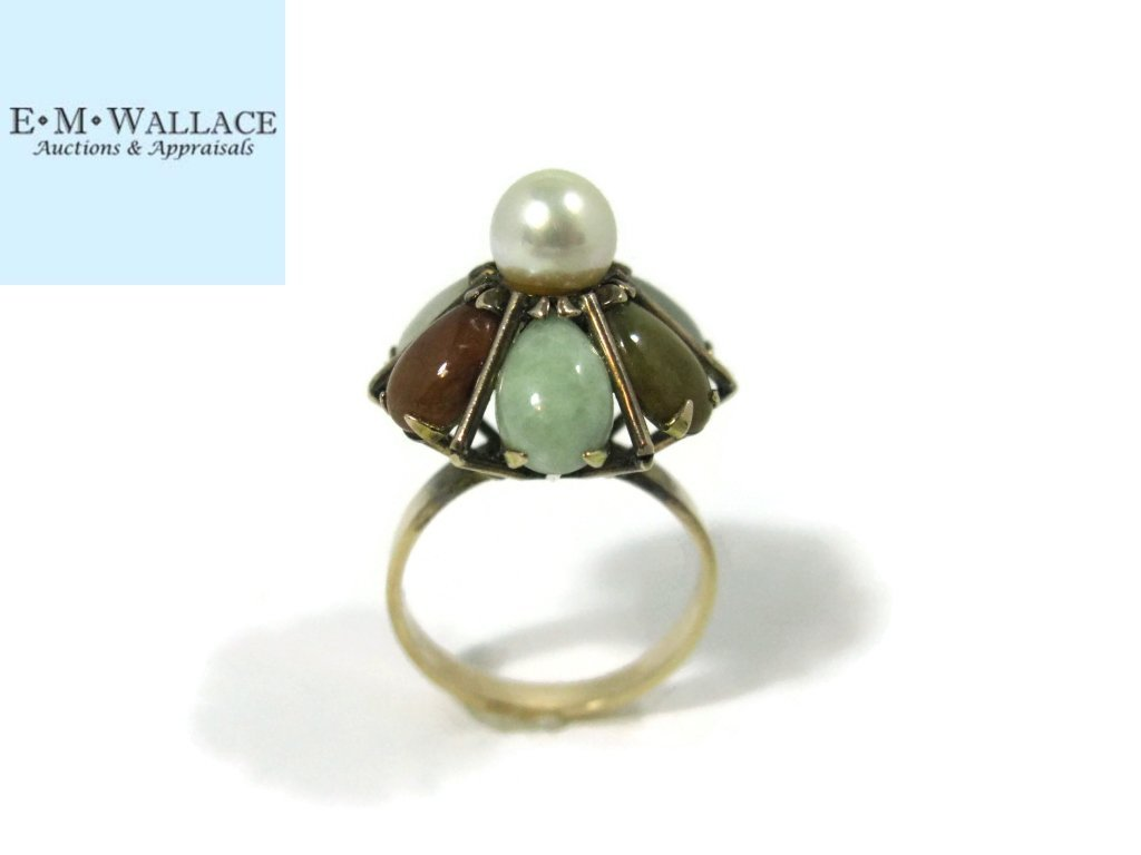 14K GOLD COCKTAIL RING WITH JADE AND PEARLS