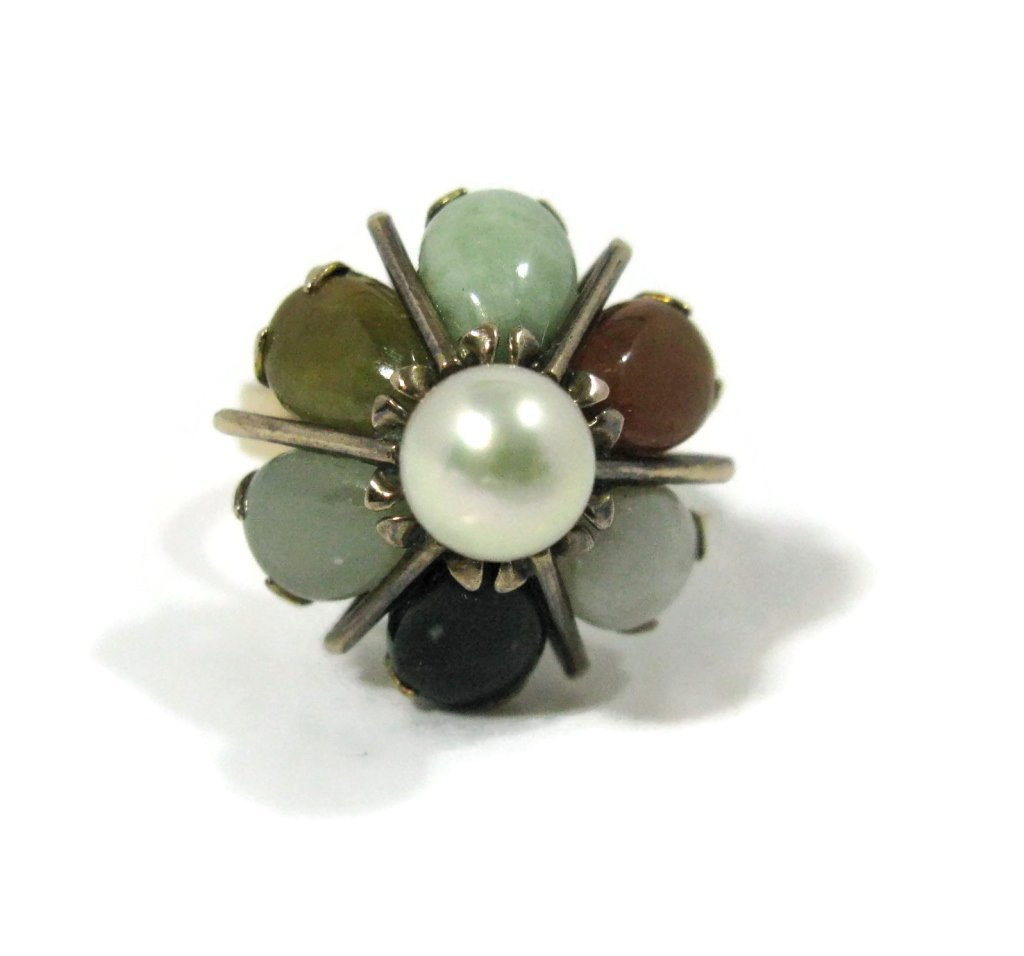 14K GOLD COCKTAIL RING WITH JADE AND PEARLS - 2