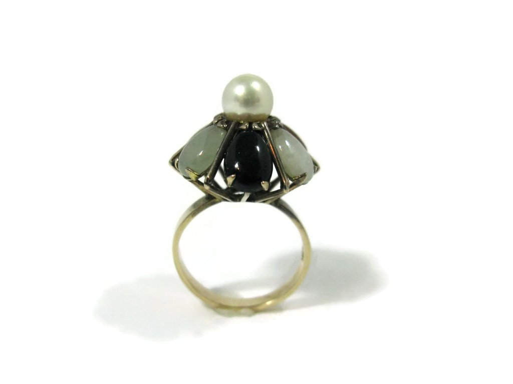 14K GOLD COCKTAIL RING WITH JADE AND PEARLS - 3