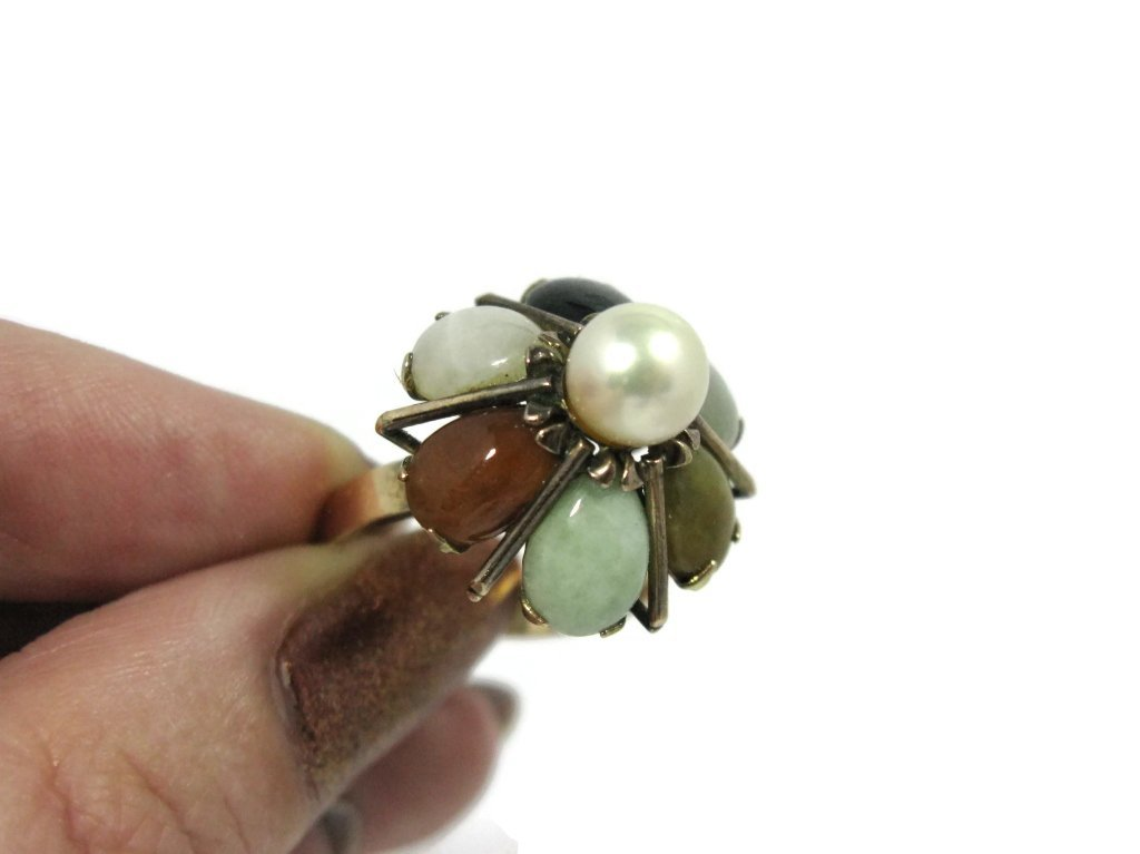 14K GOLD COCKTAIL RING WITH JADE AND PEARLS - 4