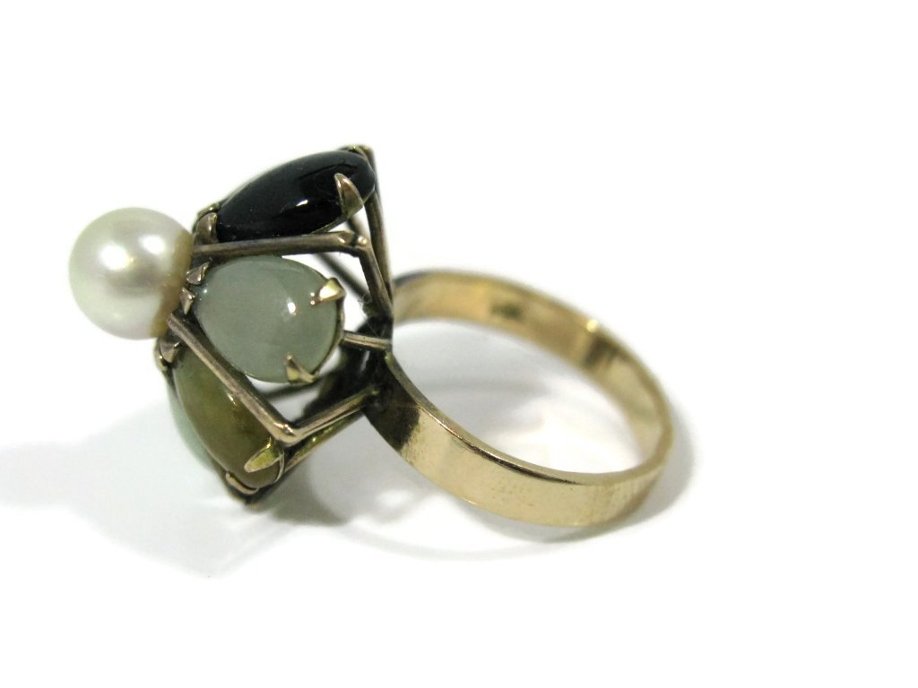 14K GOLD COCKTAIL RING WITH JADE AND PEARLS - 5