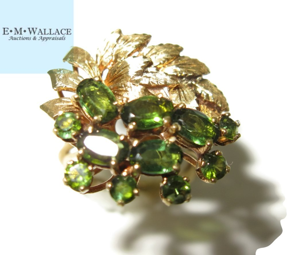 18K YELLOW GOLD AND GREEN TOURMALINE COCKTAIL RING