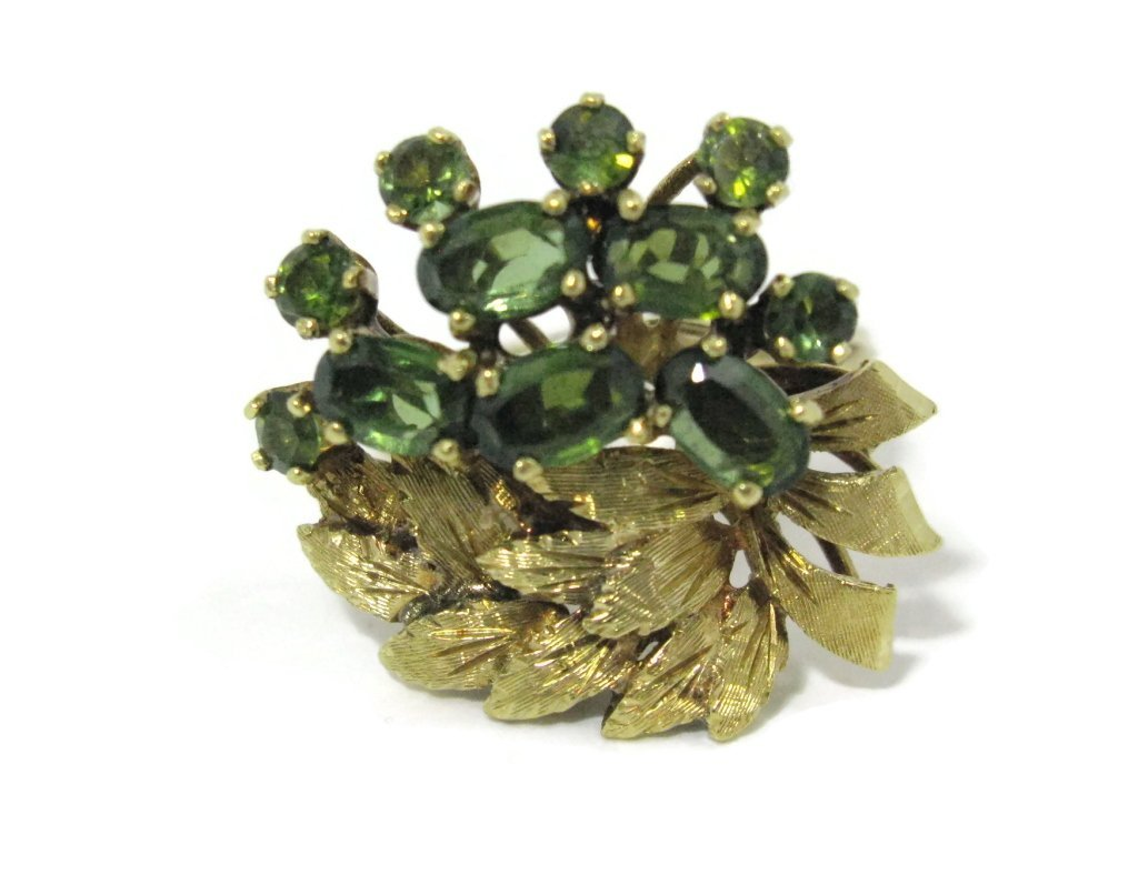 18K YELLOW GOLD AND GREEN TOURMALINE COCKTAIL RING - 2