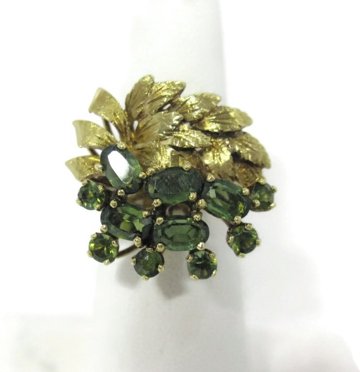 18K YELLOW GOLD AND GREEN TOURMALINE COCKTAIL RING - 3