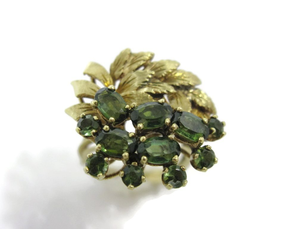 18K YELLOW GOLD AND GREEN TOURMALINE COCKTAIL RING - 4