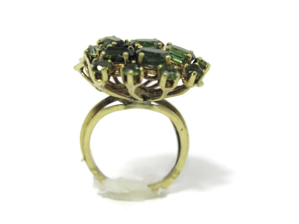18K YELLOW GOLD AND GREEN TOURMALINE COCKTAIL RING - 5