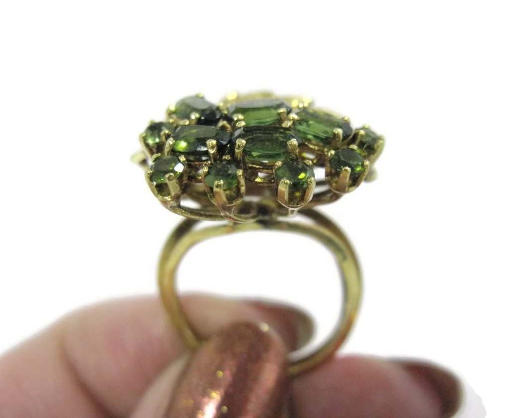18K YELLOW GOLD AND GREEN TOURMALINE COCKTAIL RING - 6