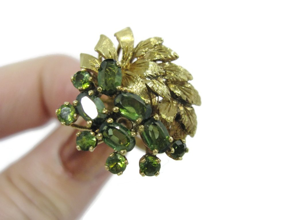 18K YELLOW GOLD AND GREEN TOURMALINE COCKTAIL RING - 7