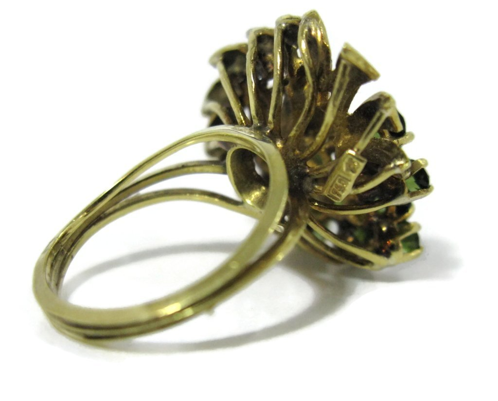 18K YELLOW GOLD AND GREEN TOURMALINE COCKTAIL RING - 8
