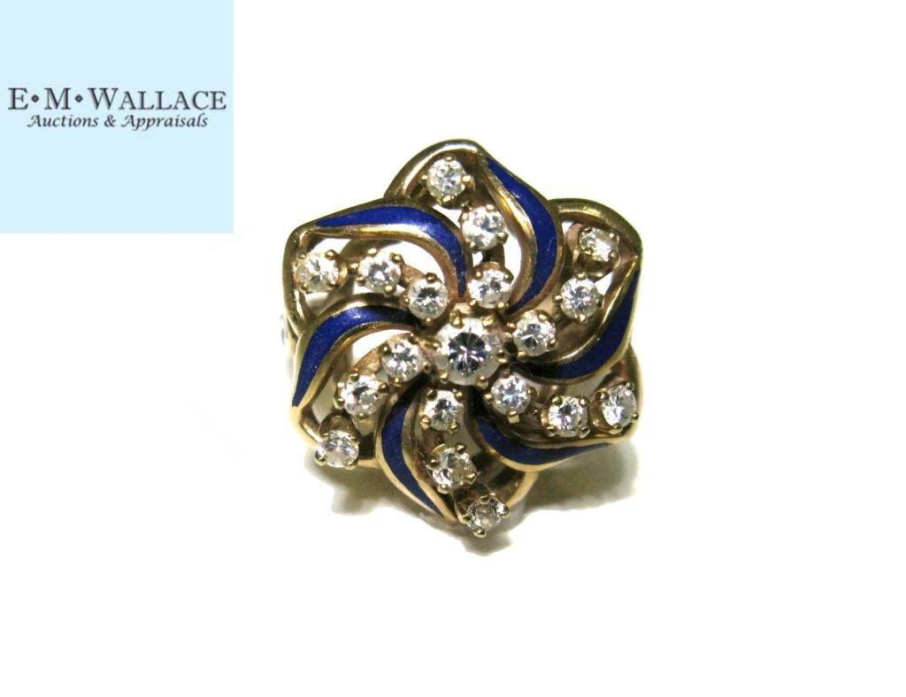 COCKTAIL RING 14K GOLD DIAMONDS & BLUE ENAMEL