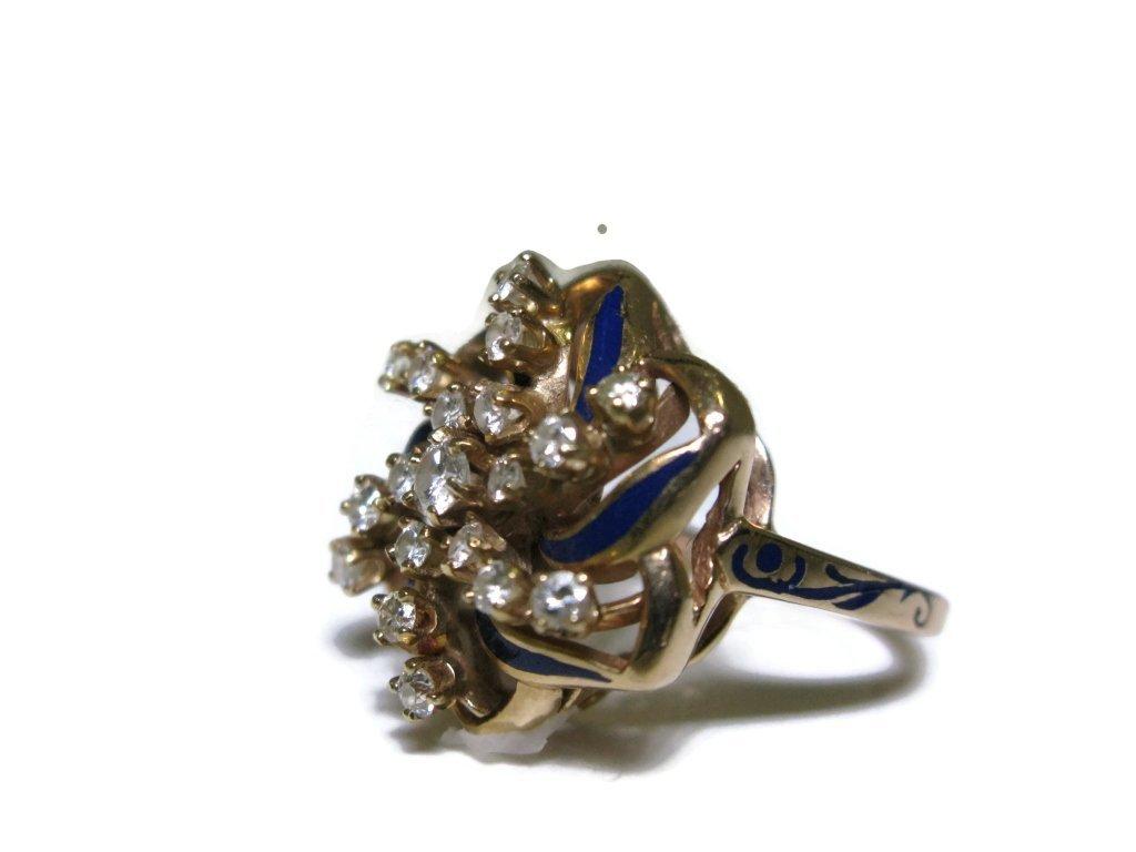 COCKTAIL RING 14K GOLD DIAMONDS & BLUE ENAMEL - 2