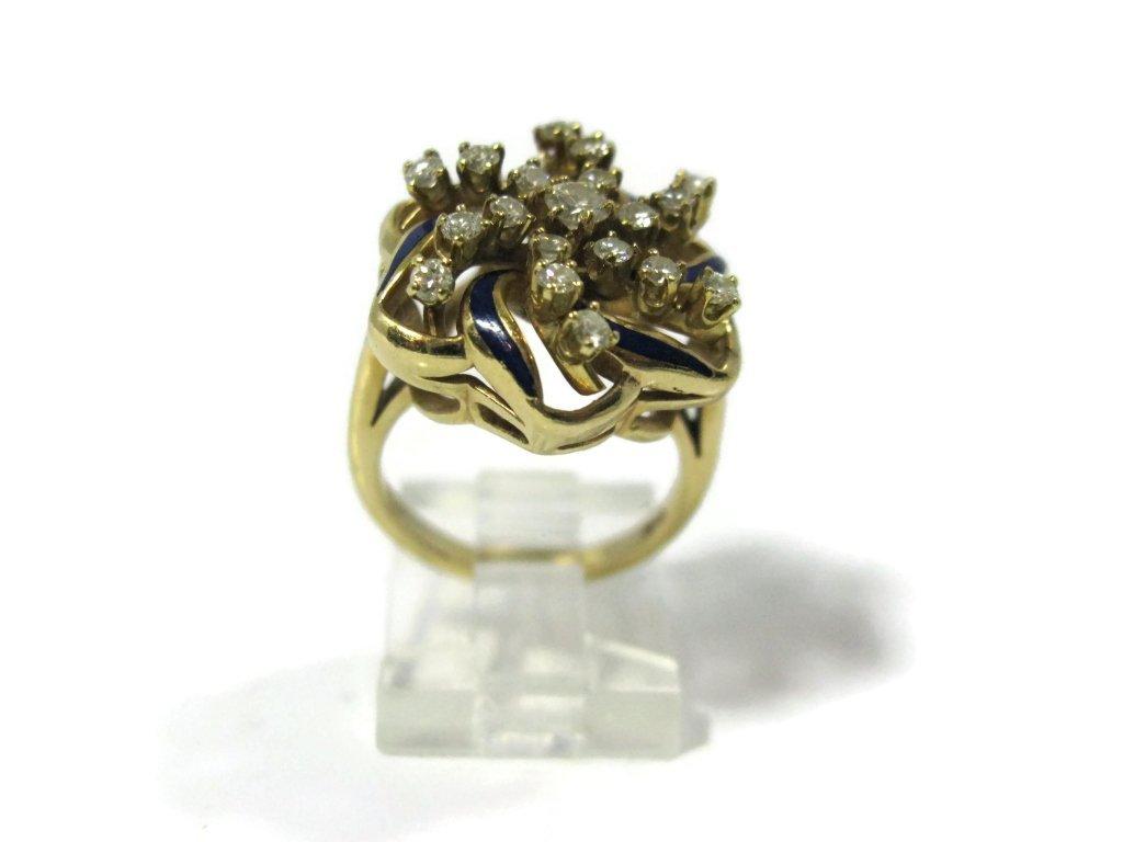 COCKTAIL RING 14K GOLD DIAMONDS & BLUE ENAMEL - 3