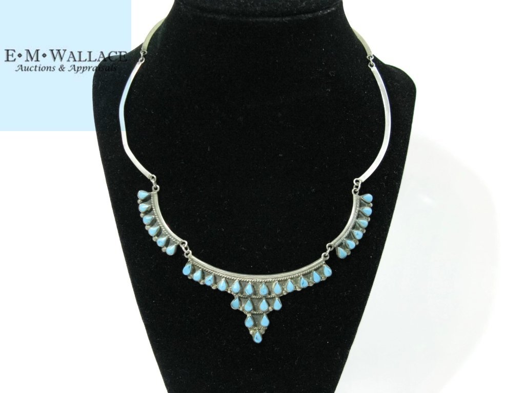 SIGNED TAXCO STERLING & TURQUOISE COLLAR NECKLACE