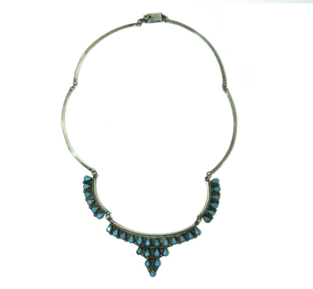SIGNED TAXCO STERLING & TURQUOISE COLLAR NECKLACE - 2