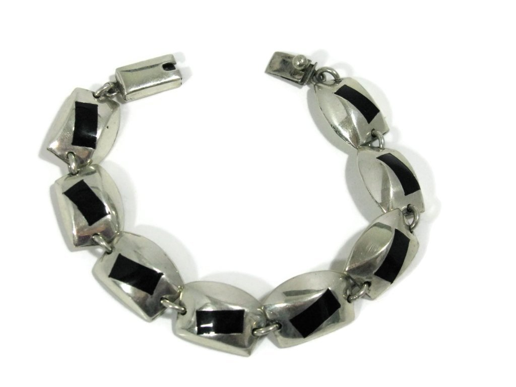 SIGNED TAXCO STERLING SILVER HEAVY LINK BRACELET - 2