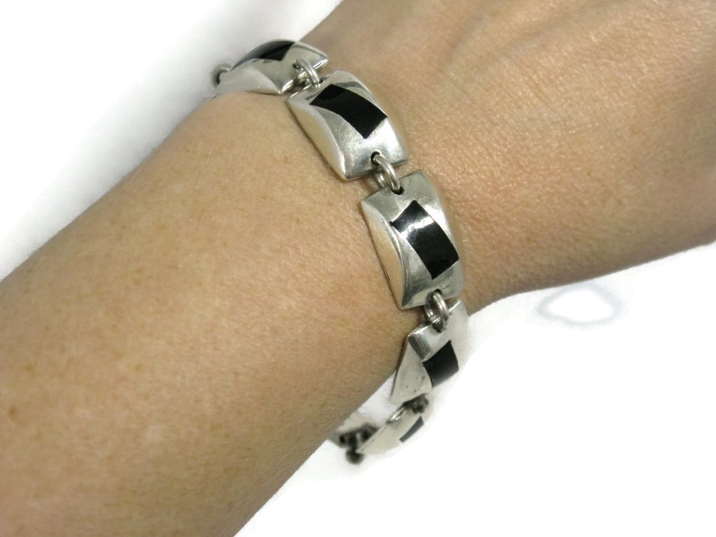 SIGNED TAXCO STERLING SILVER HEAVY LINK BRACELET - 3