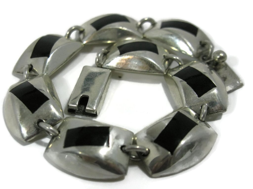 SIGNED TAXCO STERLING SILVER HEAVY LINK BRACELET - 4