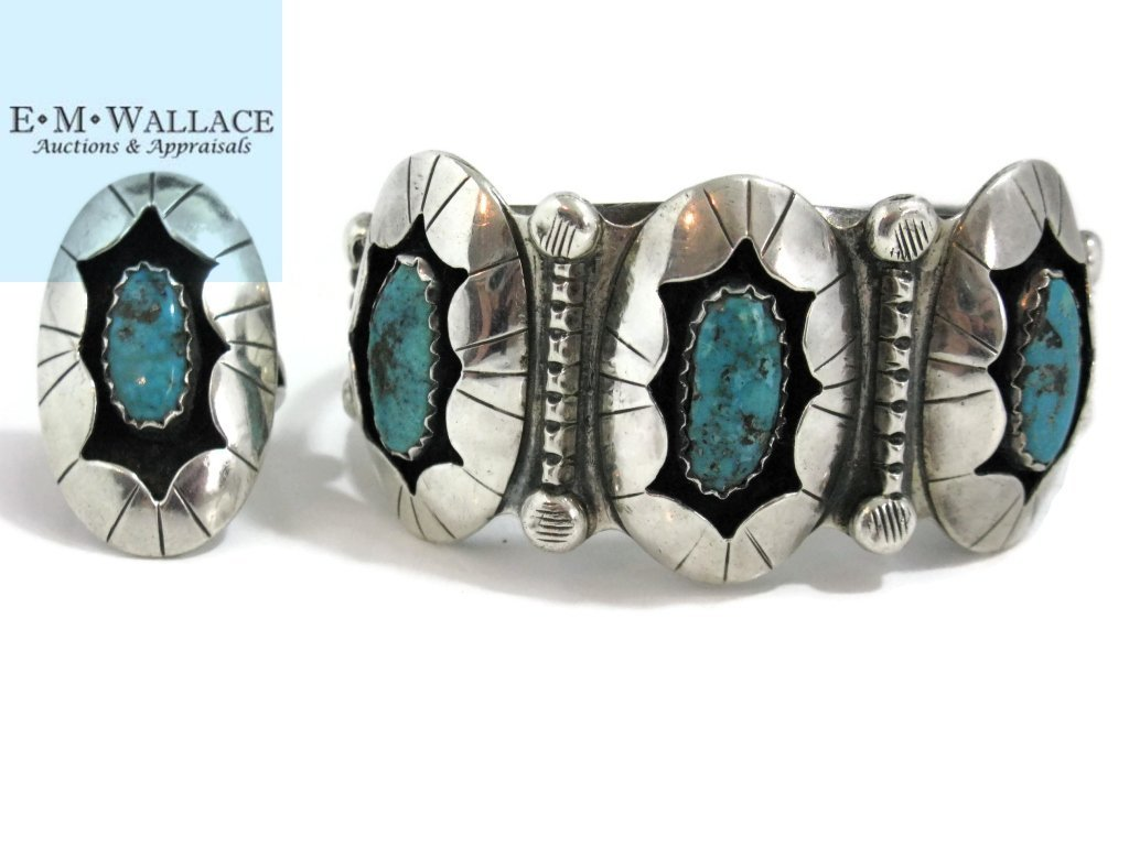 C. 1940 NAVAJO STERLING & TURQUOISE CUFF & RING