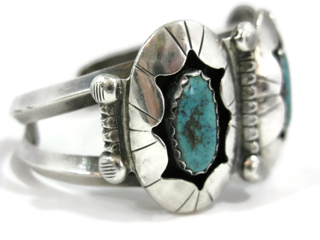 C. 1940 NAVAJO STERLING & TURQUOISE CUFF & RING - 3